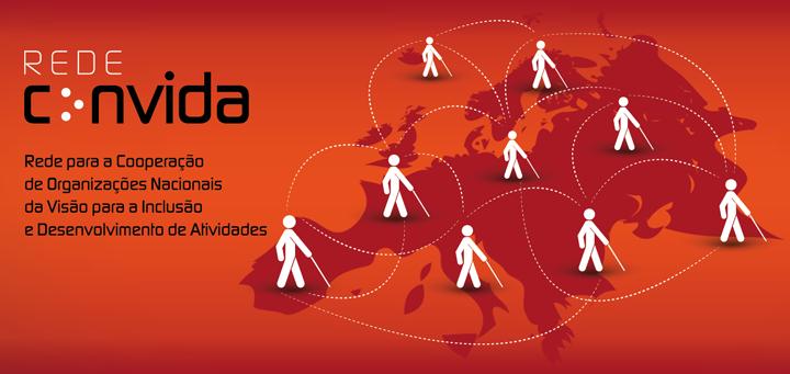 Logotipo da Rede Convida: bonecos estilizados, segurando uma bengala branca, circulam, em rede, por toda a Europa