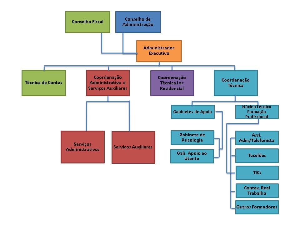 Esquema do Organigrama Funcional da Fundação Sain. Descrição mais abaixo