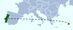 imagem do mapa da europa, com portugal e o chipre destacados com uma cor diferente e unidos por uma linha tracejada
