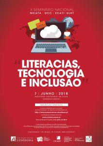 """Cartaz do X Seminário: """"Literacias, Tecnologia e Inclusão"""""""