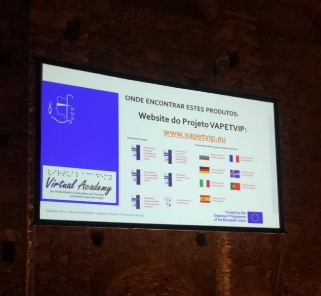 Fotografia do slide da apresentação que refere o endereço do site do projeto: www.vapetvip.eu